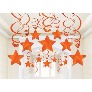 Orange Foil Star Hanging Decorations (30)