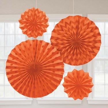 Orange Glitter Paper Fan Decorations (4 Pack)
