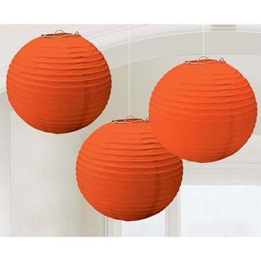 Orange Paper Lantern Decorations (3 Count)