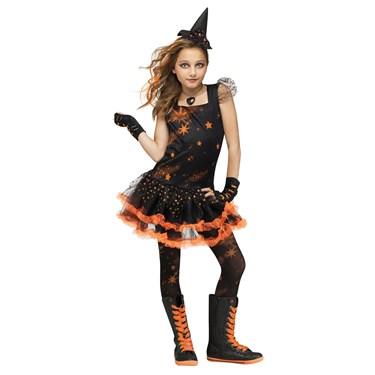 Orange Sparkle Witch Girls Costume