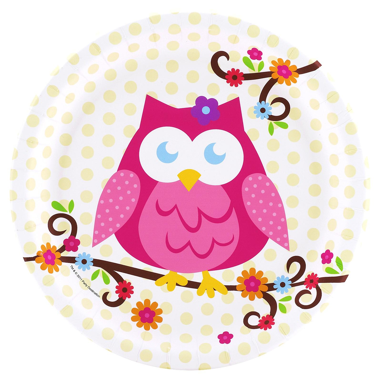 Owl Blossom Dinner Plates   BirthdayExpress.com