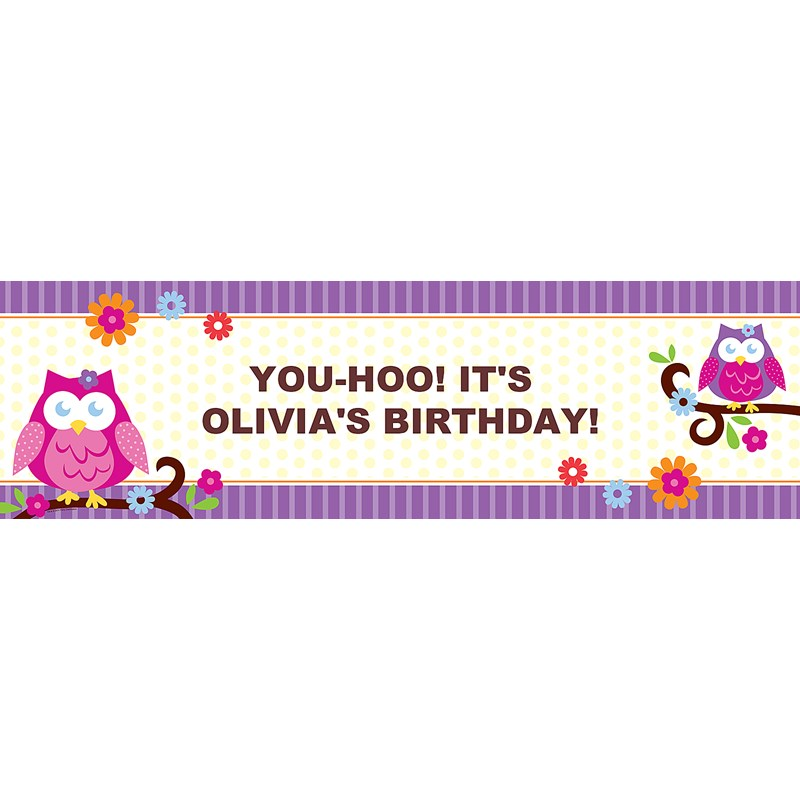 Owl Blossom Personalized Vinyl Banner