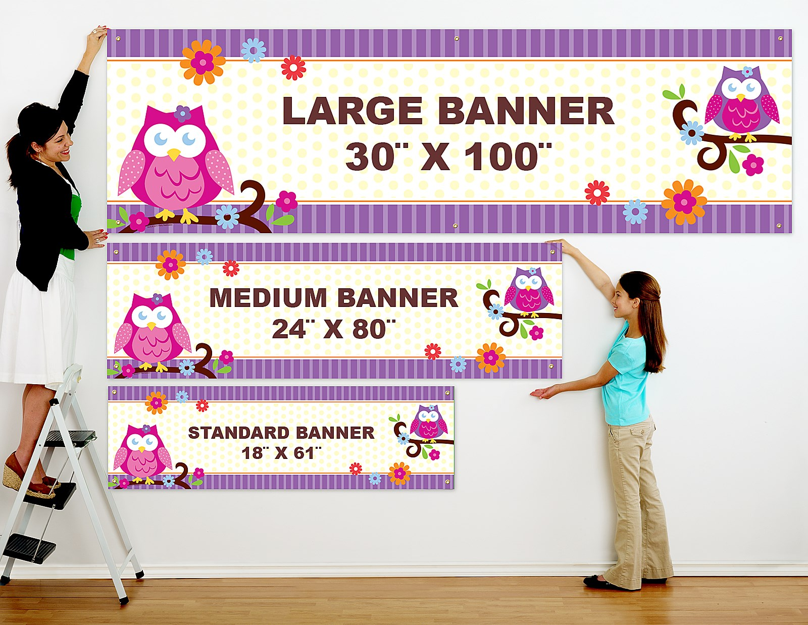 owl blossom personalized vinyl banner  birthdayexpress
