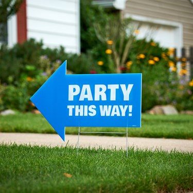 Party This Way Yard Sign Blue