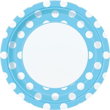 Pastel Blue and White Dot Dinner Plates