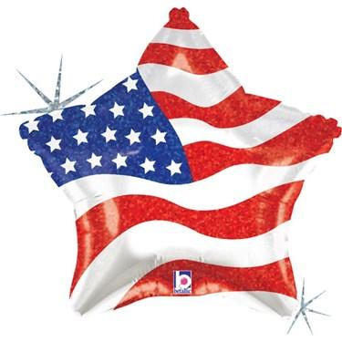 Patriotic Star 19 Foil Balloon (each)