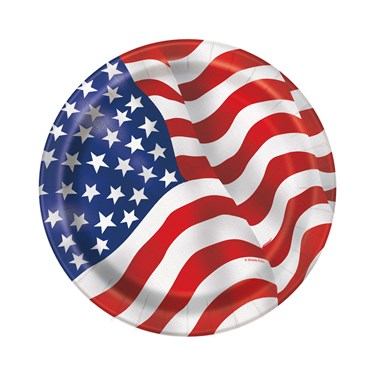 Patriotic USA Flag Dessert Plates (8)