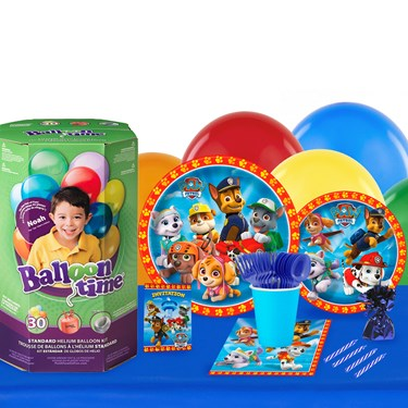 Paw Patrol Boy 16 Guest Party Pack - Tableware & Helium Tank