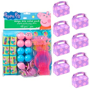 Peppa Pig Filled Favor Box Kit  (For 8 Guests)
