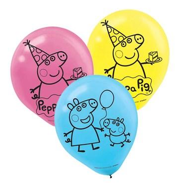 Peppa Pig Latex Balloons (6)