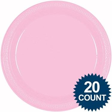 Pink 10 Plastic Dinner Plates (20)
