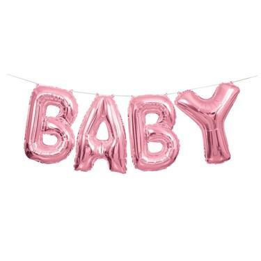 "Pink 14"" Balloon Letter Banner Kit - Baby"