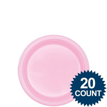 Pink 7 Plastic Cake Plates (20 Pack)