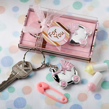 Pink Baby Carriage Key Chain Favor (1)