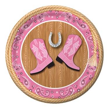 """Pink Bandana 7"""" Cake Plates (8)"""