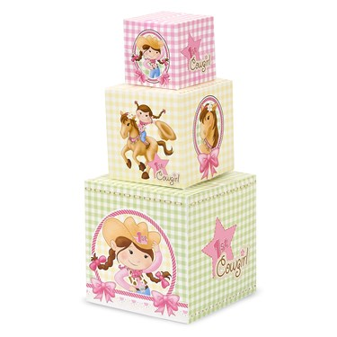 Pink Cowgirl 1st Birthday Building Blocks Centerpiece