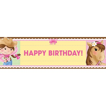 Pink Cowgirl Birthday Banner