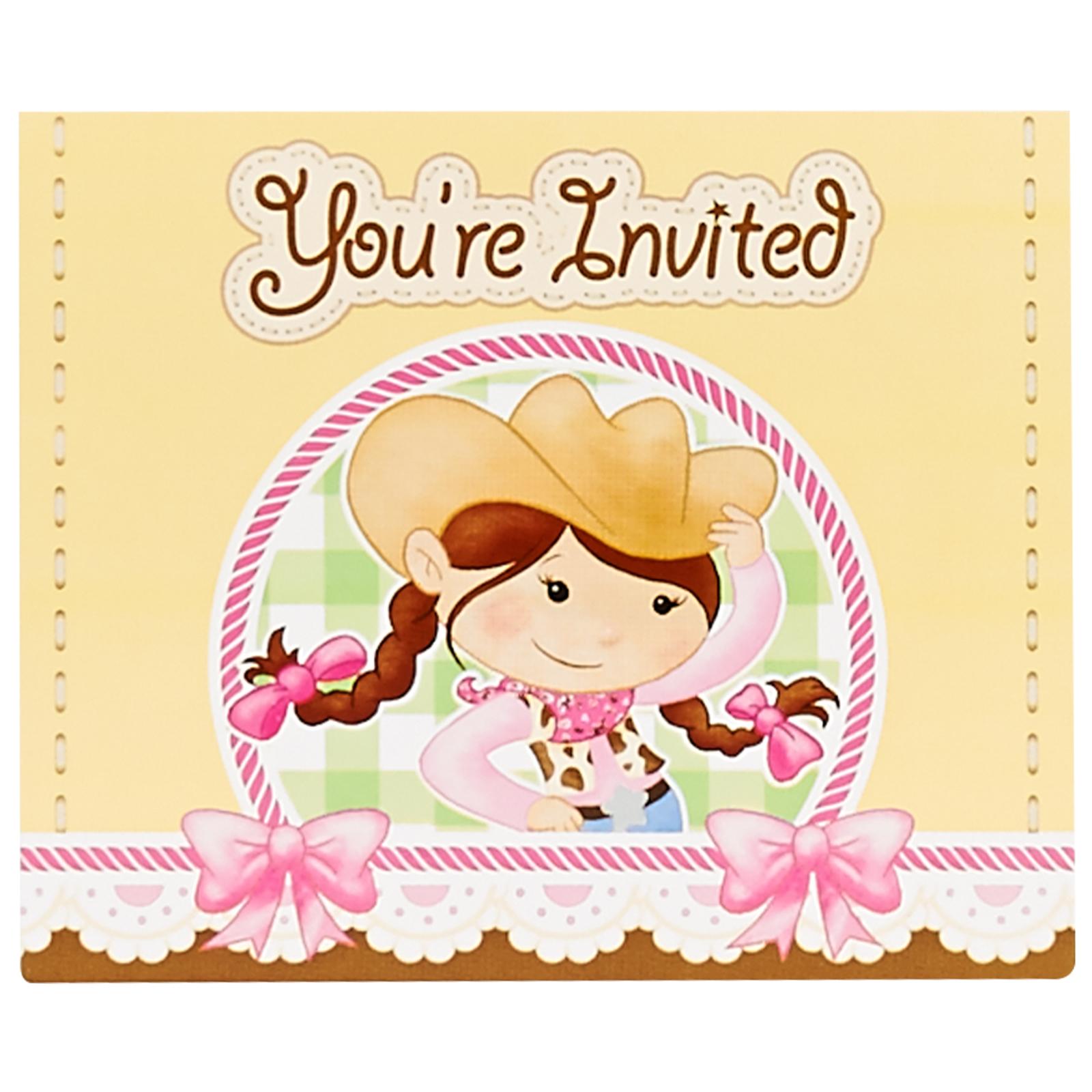 Pink Cowgirl Invitations (8) | BirthdayExpress.com