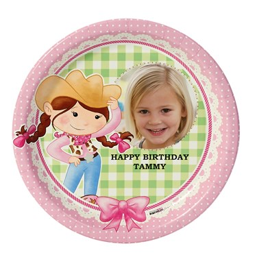 Pink Cowgirl Personalized Dinner Plates (8)