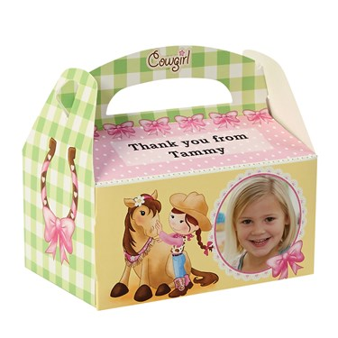 Pink Cowgirl Personalized Empty Favor Boxes (8)