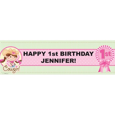 Pink Cowgirl Personalized Vinyl Banner