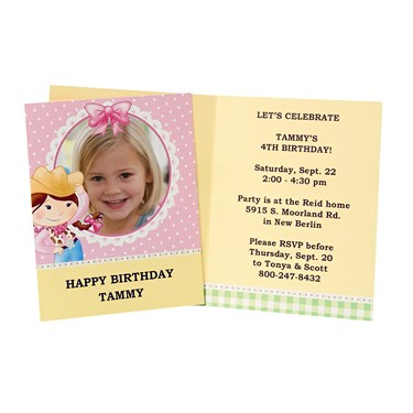 Pink Cowgirl Personzalized Invitations (8)