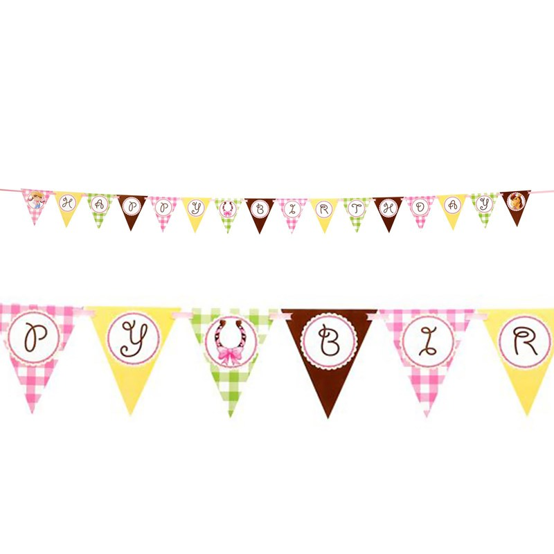 Pink Cowgirl Ribbon Flag Banner
