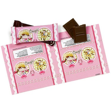 Pink Cowgirl Small Candy Bar Wrappers