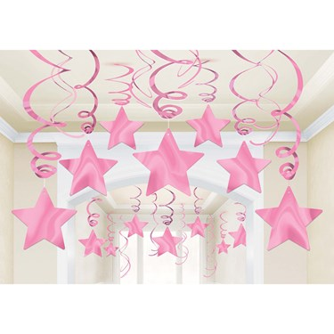 Pink Foil Star Hanging Decorations (30)
