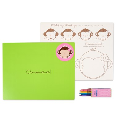 Pink Mod Monkey Activity Placemat Kit for 4