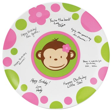 Pink Mod Monkey Birthday Signature Plate