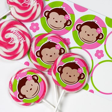 Pink Mod Monkey Deluxe Lollipop Favor Kit