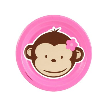 Pink Mod Monkey Dessert Plates