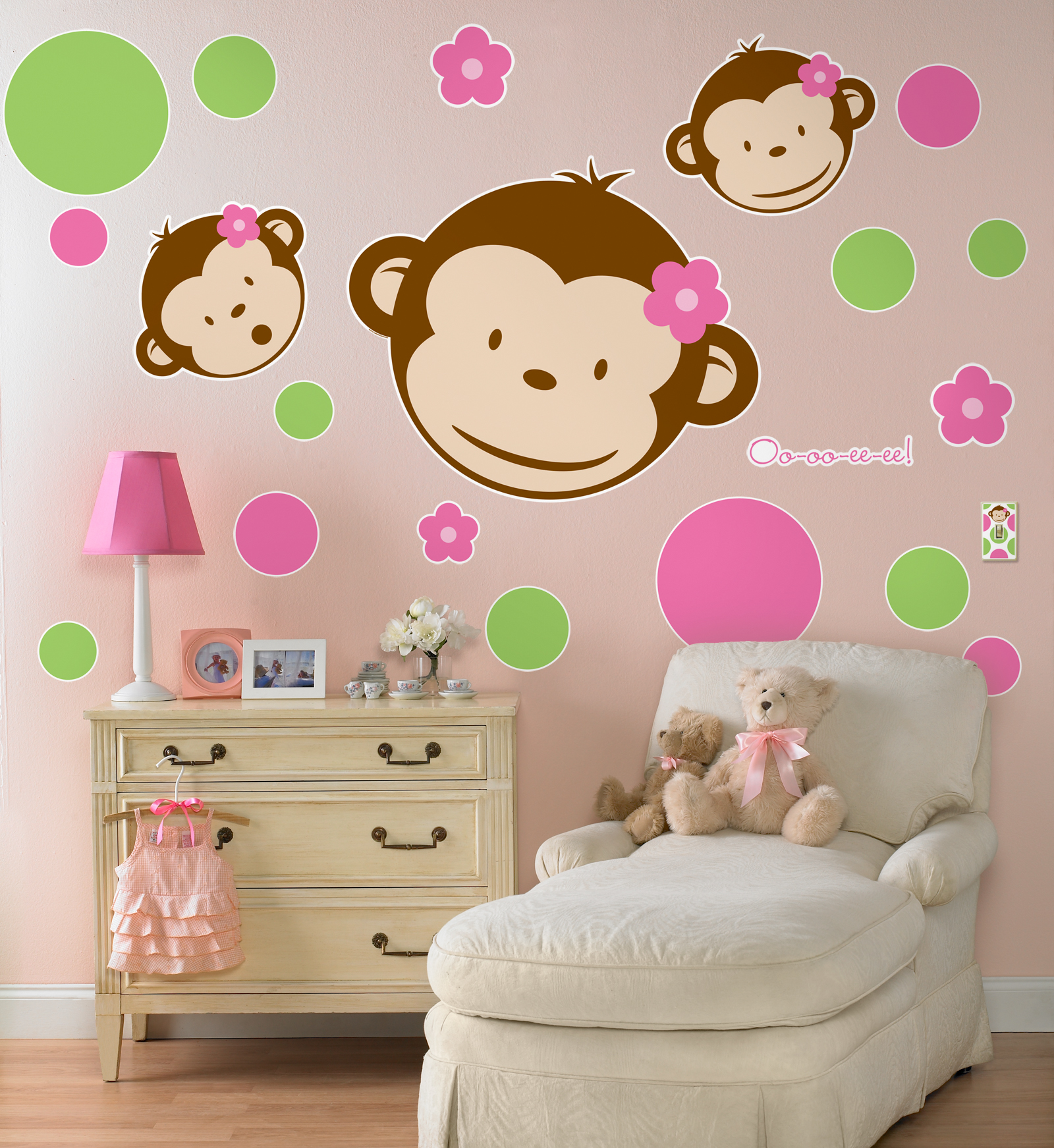 Pink mod monkey giant wall decals birthdayexpress amipublicfo Gallery
