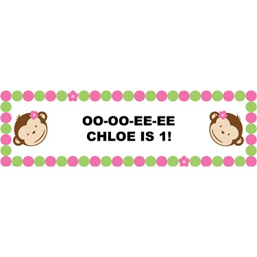 Pink Mod Monkey Personalized Vinyl Banner