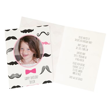 Pink Mustache Personalized Invitations (8)