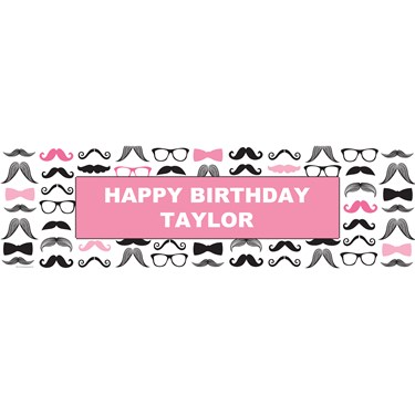 Pink Mustache Personalized Vinyl Banner