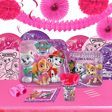 Pink Paw Patrol 16 Guest Tableware & Deco Kit