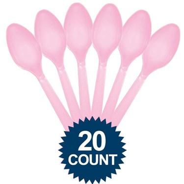 Pink Plastic Spoons 20 Ct