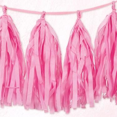 Pink Tissue Tassel 9' Garland