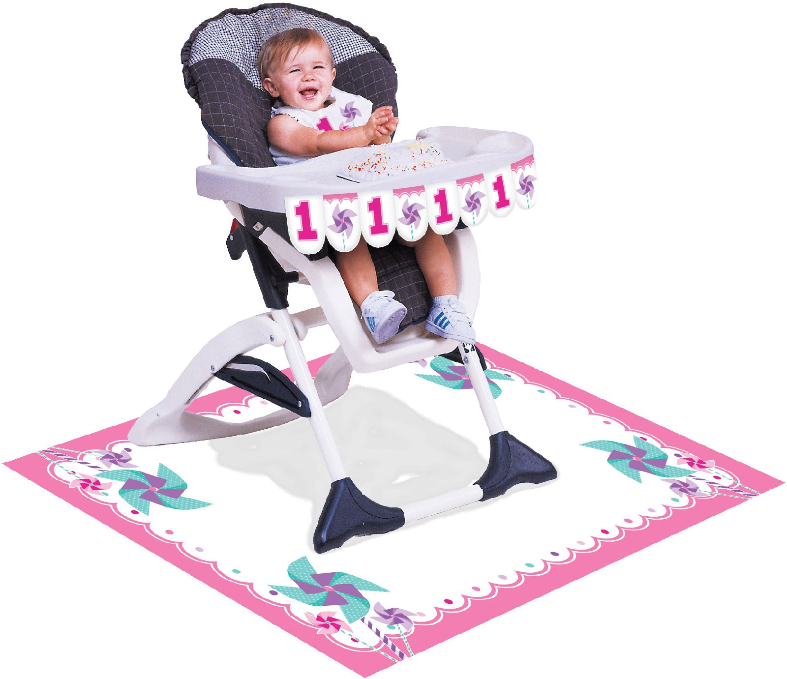 Pinwheel Girl 1st Birthday High Chair Decorating Kit