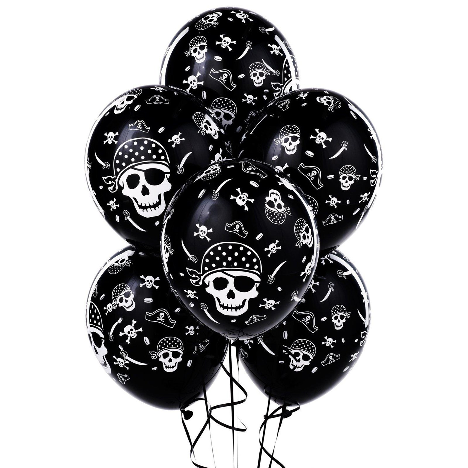 Pirate Skull and Crossbones Latex Balloons ...