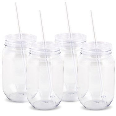 Plastic Mason Jars 16oz. Packs