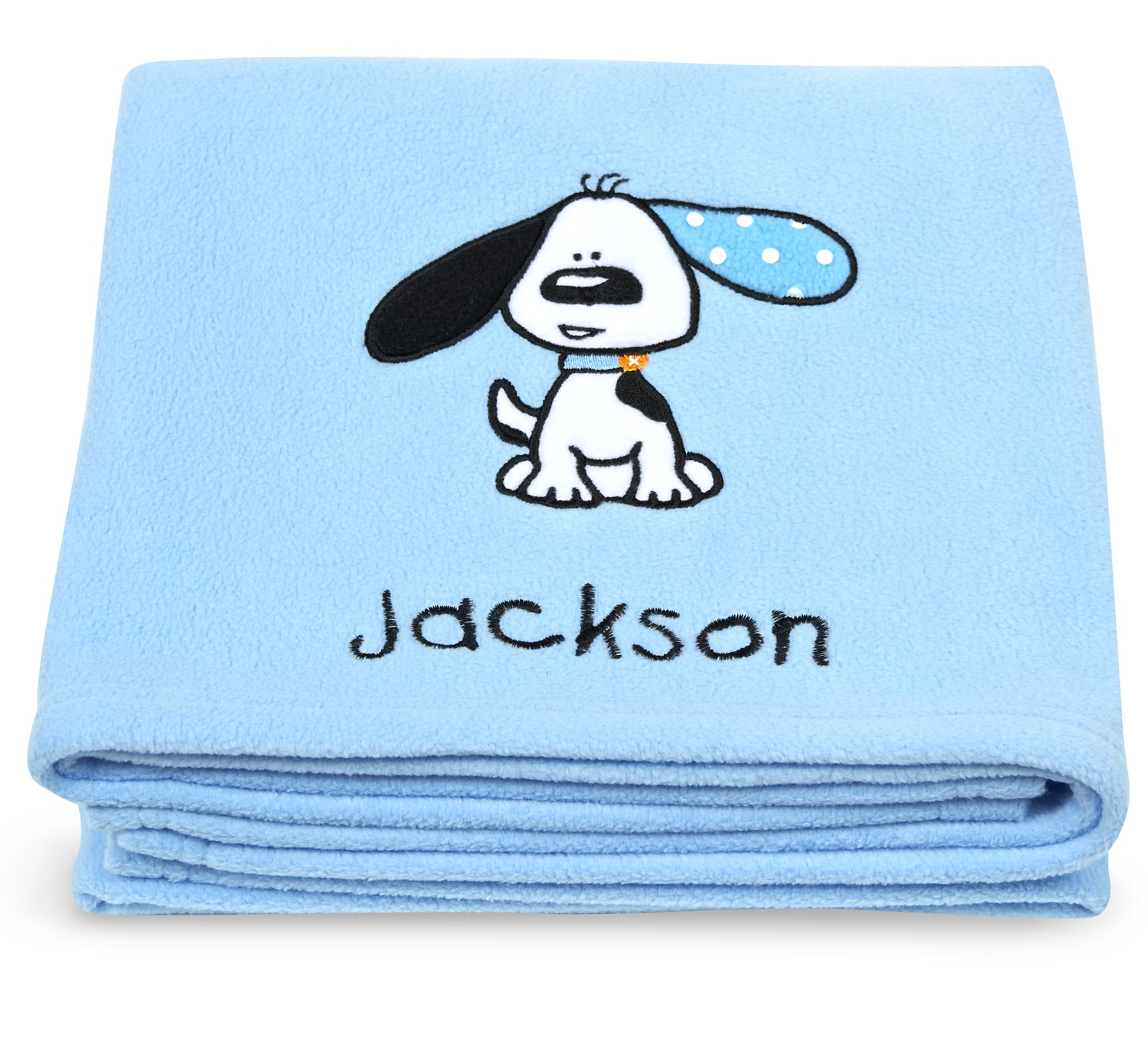 Playful puppy blue applique fleece blanket embroidered