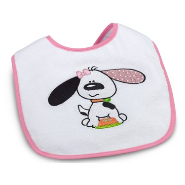 Playful Puppy Pink 1st Birthday Bib