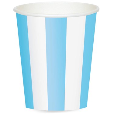 Powder Blue Stripe 12 oz. Paper Cups