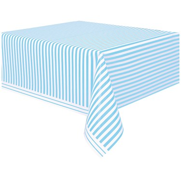 Powder Blue Stripe Plastic Tablecover