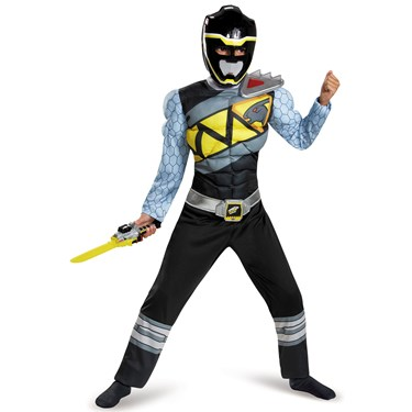 Power Rangers Dino Charge: Kids Black Ranger Muscle Costume