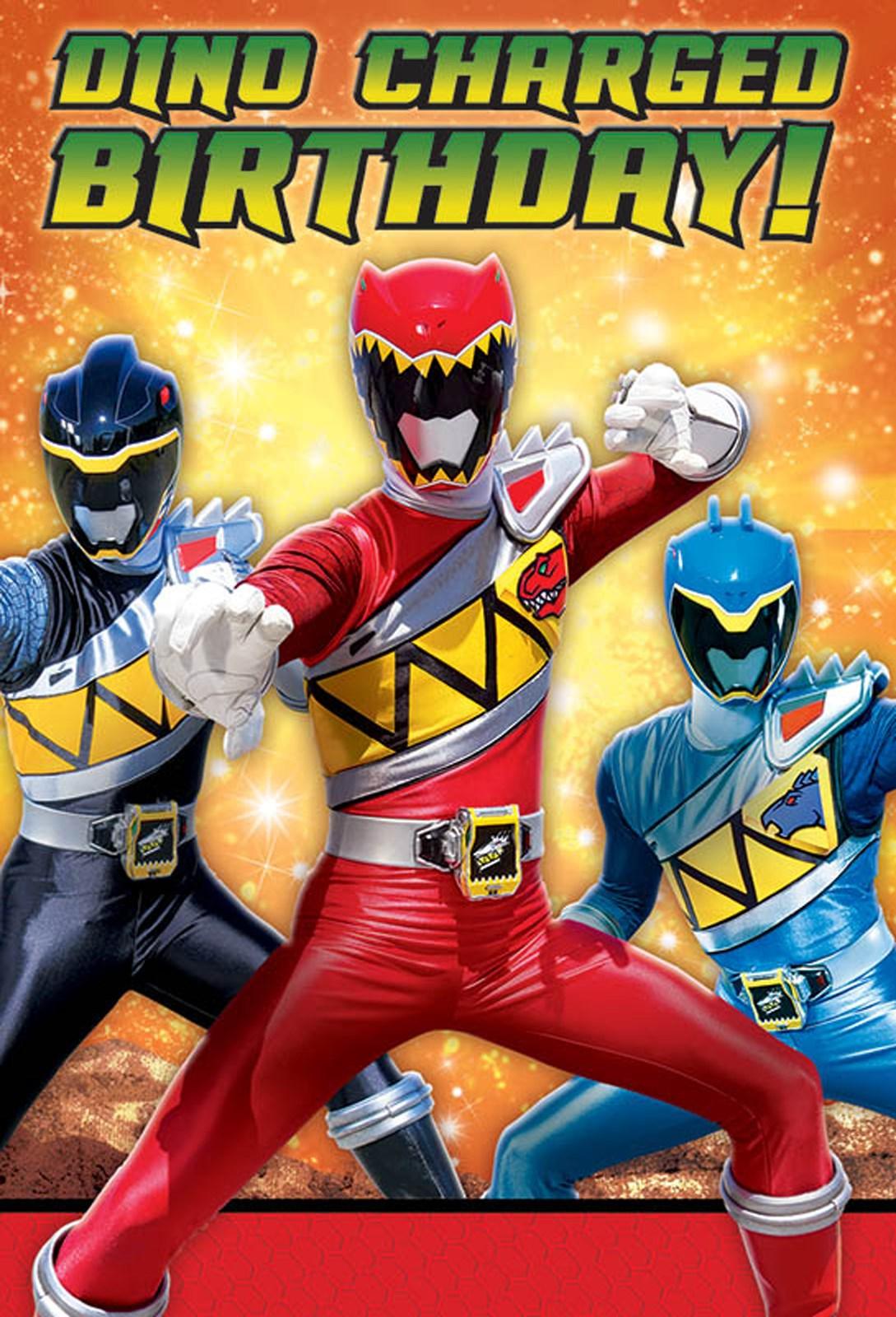 Power Rangers Dino Charge Postcard Invitations – Power Rangers Birthday Invitations