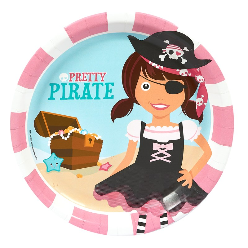 pretty pirates party dinner plates. Black Bedroom Furniture Sets. Home Design Ideas